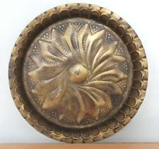 1920's Old Antique Beautiful Hand Engraved Round Shape Brass Tray / Plate #420