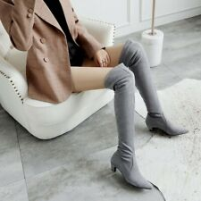 Women Pointy Toe Kitten Heel Faux Suede Stretch Over The Knee Thigh High Boots