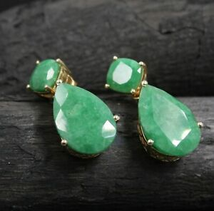 Emerald Gemstone Gold Plated Valentine's Gift Earring Solid 925 Sterling Silver