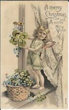 BA-108 - Merry Christmas Angel & Four Leaf Clover, 1907-1915 Golden Age Postcard