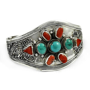 Round Shape Turquoise Coral Gemstone Jewelry 925 Sterling Silver Cuff Bangle H17