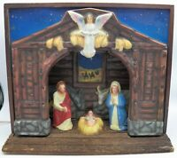 Vintage Royal Musical Illuminated Nativity Scene Music Box Mid Century Christmas