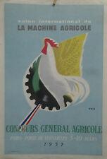 AFFICHE ORIGINALE ANCIENNE MACHINE AGRICOLE PARIS PORTE DE VERSAILLES ERIC COQ