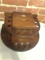 Vintage Fairfax 9 Pipe Holder Tobacco Humidor Bowl Stand Walnut