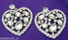 CLEAR CRYSTAL VALENTINE'S DAY HEART EARRINGS RED HAT SOCIETY
