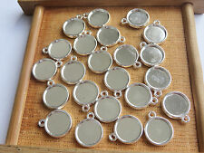 50pcs Silver Plated 12mm Round Charm Pendant Trays Blank Bezel/Cabochon Setting
