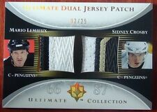 2005-06 ULTIMATE DUAL JERSEY PATCH SIDNEY CROSBY /MARIO LEMIEUX #2/25 GAME USED