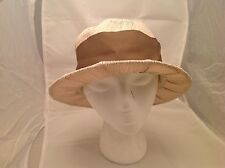 Vintage Ladies Hat Medium Brimmed Taupe and Cream W/Accenting Grosgrain Ribbon