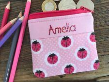Handmade personalised kids childrens Ladybird Ladybug purse wallet boy girl