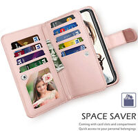 For iPhone &Samsung Premium PU leather 9 Card Slots Wallet Case Cover Hand Strap