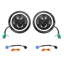 2 x  7'' LED Angel Eyes Halo Round Fog HeadLights Lamp For Jeep Wrangler JK TJ