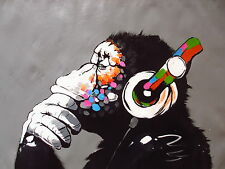 A0 Size Canvas Banksy Street Art Print DJ Monkey Chimp Painting HUGE