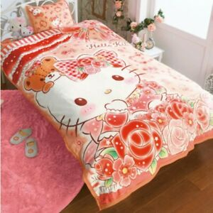 Hello Kitty Warm Sleep Blanket Single Bed Bedding Throw Sanrio Japan Gift B5626