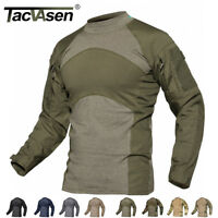 TACVASEN Mens Army Military Shirts Tactical Combat Shirt Zipper Pockets T-Shirt