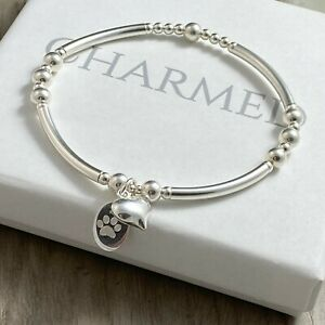 sterling silver stretch stacking bracelet beaded engraved pet lover paw heart