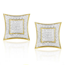 Men's Large Gold Square Diamond Earrings