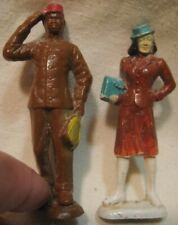 Old 1950s Plastic Pr Figures Red Cap Porter & Fashion Lady for Village or Train