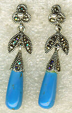 "925 Sterling Silver Turquoise & Marcasite Teardrop Dangle Earrings 38mm (1.1/2"")"