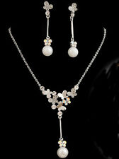 Butterfly Necklace Earrings Wedding Jewellery Set use Swarovski Crystals Pearls