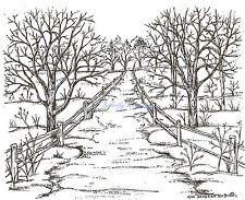Road With Bare Branch Tree Wood Mounted Rubber Stamp Northwoods Rubber Stamp New