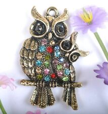 2PCS  Bronze Owl family Charm Pendant Inlay Crystal 42MM JK1063