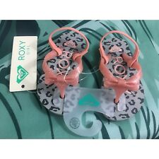 Roxy Baby Girls Toddler Gray & Pink Leopard Glitter Bow Sandals Size 5 NWT