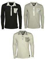 Men's Daniel Christian Long Sleeve Collared Cardiff Tshirts Polo Shirt Tee Tops