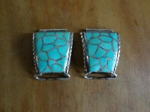 Zuni fish scale watch tips Stuart and Marge Tucson- Turquoise/sterling silver