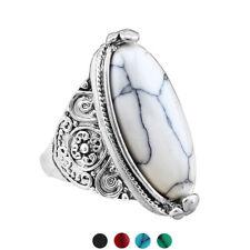 EG _ Damen Retro Boho oval Türkis Antik Versilbert Ring Schmuck Preci