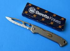 BERETTA Japan Medium Airlight Knife NEW Lockback 440C Fully Serrated Silver Alum