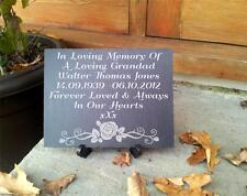 Personalised Natural Slate Memorial Plaque With Stand Interior or Exterior