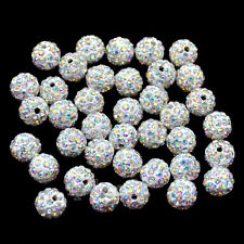 Top Quality CZ Crystal Rhinestones AB Color Pave Clay Round Disco Beads 10mm