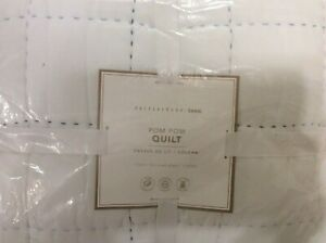 Pottery Barn Teen Pom Pom Twin Quilt NWT! White & Cool Multi 100% Cotton Blue
