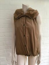 MAXMARA Max Mara  HOODED FUR VEST IN BEIGE SIZE 38 US 8 UK 10