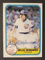 Willie Hernandez Vintage Signed 1981 Fleer Card #310 Cubs - AUTO - 1984 A.L. MVP