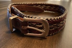 Vintage Nylon Braid Mens Belt Leather with Silver Buckle Size 32