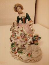 Beautiful German A Sitzendorf Porcelain Figure Of A Woman With Dog