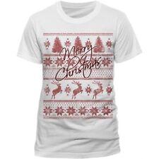 CID Men's Fair Isle Merry Christmas Short Sleeve T-Shirt, White, Size Medium.