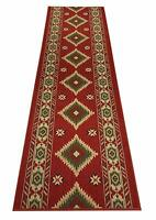"Antibacterial Custom Cut To Size Red Southwest Design Non Skid Runner Rug 31.5""W"