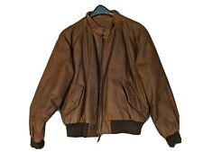 Men's ROUNDTREE & YORKE American Style Brown 100% Leather Jacket Coat Size L