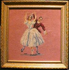 1930s Fine Antique Pair Needlepoint Embroidery Sampler'Ballet Dancers'New Framed