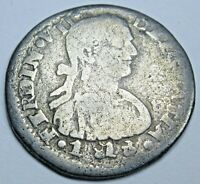 1818 Zacatecas Mexico Silver 1/2 Reales Genuine Antique Old 1800's Colonial Coin