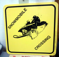 SNOWMOBILE Crossing Sign 15 x 15 inches, flexible plastic - made in the USA, NEW