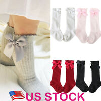 Toddler Kids Baby Girl Knee High Long Socks Princess Bow Cotton Casual Stockings