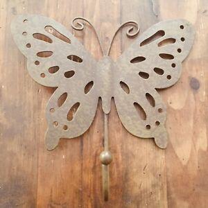 """Metal Butterfly Single Hook Hanger - Coat Jacket Scarf Jewelry - Wall Decor 6.5"""""""