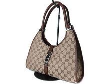Authentic Gucci Gg Pattern Jackie Canvas Leather Browns Shoulder Bag Gs12392L
