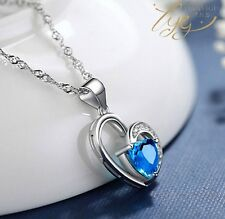 Sterling Silver Chain Blue Topaz Heart Love Pendant Necklace Jewelry Gift Box E8