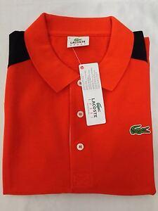Lacoste Sport Color Block Men's Polo Shirt Orange Top T-Shirt Genuine