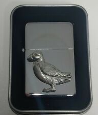 More details for wildlife series puffin petrol windproof fliptop chrome/pewter lighter