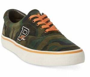 Polo Ralph Lauren Men's Thorton Green Suede Camo Print Sneakers Size 10.5D - NEW